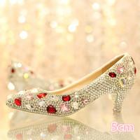 1399 Rhinestone Genuine Leather Women pumps Wedding High Heels dance Shoes 5cm Size36-39