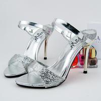 Women's shoes gold serpentine pattern open toe shoe summer open toe sandals all-match silver high-heeled shoes X005