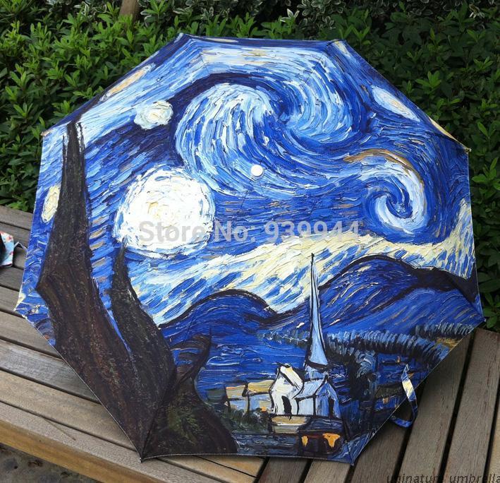Free shipping Van gogh Oil painting uv umbrella Three-folding star-sky manual umbrella,high quality umbrella rain women(China (Mainland))