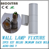 free shipping  gray Aluminum 10W LED wall lights fixture outdoor come with 2 pcs COB 5W spot light warm white promotion now