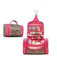 Free shipping 2013 fashion women canvas leopard print travel bag large capacity cosmetic box storage bag