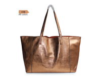 Metallic color bag fire cracks women's genuine leather handbag one shoulder big bag cowhide brief one B214