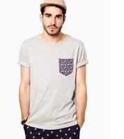 2013 New Arrive Modern Style Fake Pocket Color Pocket Men Short Sleeve T Shirt 6 Color Men T shirt Classic Tees