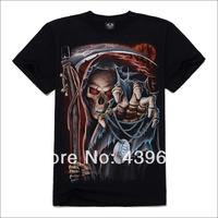 New arrival male short-sleeve T-shirt tidal current male 3d o-neck t-shirt metal sickle skeleton basic shirt