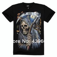 Free Shipping men short sleeve T-shirt black cotton fabric round neck short sleeve t-shirts sickle 3D skull S/M/L/XL/2XL XL
