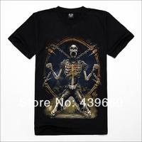 Metal 3d short-sleeve T-shirt male popular t-shirt skeleton basic shirt