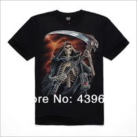 Male t-shirt popular men's clothing o-neck short-sleeve T-shirt full combed cotton 3d basic shirt sickle skull