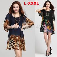 XXXL New Women Spring/Summer 2014 Fashion Vintage Dress Female Casual/Novelty Dresses Plus Size Ladies Clothing Loose Blouse XXL