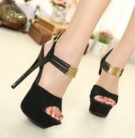 2014 new European and American fashion high heel sandals 14CM , diamond tassel shoes waterproof  X004