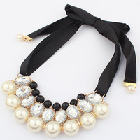 European and American women jewelry wholesale fashion elegant pearl ribbon necklace Sweater chain 2 colors
