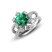 925 silver inlaying emerald gem female ring fashion stone 10x10mm rose