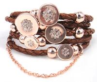 Free Shipping Hot Sell Leather Bracelets Wrap Rose Gold Plated Bracelet for Women Four Leaf Clover Charm Bracelet Bangle