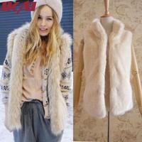 NBA264 Free Shipping Women Soft Faux Fur Vest Women Vest Sleeveless Ostrich Hair Fur Coat Luxury Women Long Sleeve Fur Coat