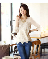 spring and summer lace chiffon shirt bottoming shirt Slim solid color chiffon lace shirt female long-sleeved shirt Plus Size