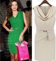 2014 new fashion European American dress big yards down collar sleeveless autumn winter women plus size dress M,L,XL