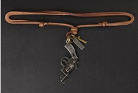2014 New Vintage silver gun pendant leather cord necklace punk cool men jewelry leather necklace