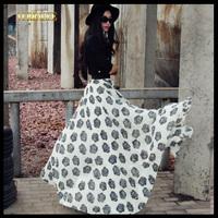Free Shipping Spring Summer Women's Fashion Loose Maxi Skirts Lady Rose Print Chiffon Plus Size Floor Length Skirt Saias (S-XXL)