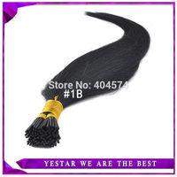 "18"" 20"" 22"" 24"" Stick Tip/I Tip Keratin Hair Extensions, Natural Hair 0.5g/s 100s/pack #1b nature black  Free Shipping"