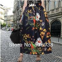 New 2014 spring summer women vintage fashion maxi animal parrot pattern print long skirt floor length plus szie ball gown skirts