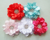 Christmas Gifts baby girl Fashion New Ladies Satin Peony Flower with 1.5cm rhinestone used to Hair Clip Hairpin Brooch 5 Colors