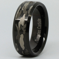 8mm Black TUNGSTEN Camo Ring Hunting Army Camouflage Wedding Band Ring Unique