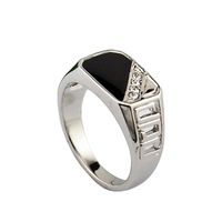 Size 8-12 Free Shipping 2014 Latest Design Men Jewelry 18K White Gold Plated Black Enamel Man Fashion Ring With CZ
