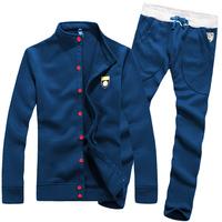 100% cotton collar Korean Slim leisure suit sport men set spring summer 2014 New arrival