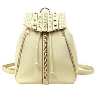 Hot sale fashion women backpack designer rivets school bag leather shoulder bags for teenage brand name