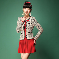 2014 Spring Autumn clothing set Fashion Women's Elegant Long-sleeve Lace Rose Pattern Blouses/ coat With Red Pleated Skirt Set