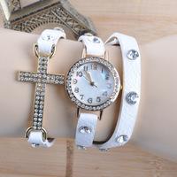 2014 New arrival gold plated rhinestone watch leather strap cross jewelry fashion punk style woman dress quartz watches JW1603