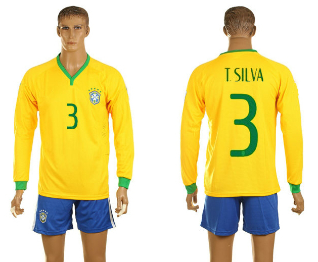 2014 World Cup Brazil home yellow long sleeve football jersey #3 T.SILVA designer soccer kits men's soccer uniform Free Shipping(China (Mainland))