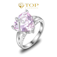 Free Shipping ! 925 Sterling Silver Wedding Jewelry Pink Topaz Engagement Crystal Rings For Women Jewelry