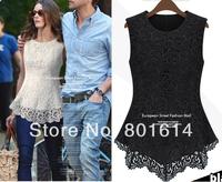 2014 Hot Lace Sexy Sleeveless Slim Tops chiffon Blouse S ~ XLTank Casual t Shirts O-Neck  cotton Lined Chic Irregular hem
