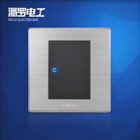 Wholesale POLO Luxury Wall Switch Panel, Light Switch,1 Gang 2 Way,Champagne/Black,Push Button LED Switch,16A,110~250V, 220V