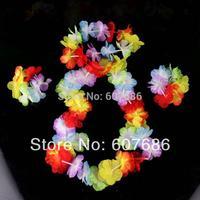 Wholesale 50 Sets Hawaiian Flower Lei Fower Bracelet Flower Headband, Fancy Dress For Party Dancing Hula Luau Kids Free Shipping