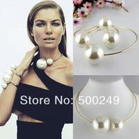 2014 super hot fashion popular double Korea simulated pearl necklace bracelet women's collar choker statement pendant