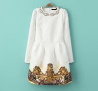 [R&V] womens White princess dress handmade beading vintage dress ladies flowe prnt retro casual dress puff brand new RS6159