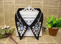 Fashion collar necklace 2014 cotton fake false collar necklaces beads rhionstone handmade detachable collars accessoires CW