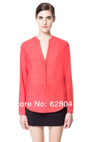 2014 New Women's V-neck Long-sleeved Button-small Open Collar Chiffon Shirt Casual Shirt Free Shipping 9208