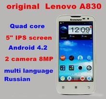 original Lenovo A830 cell phone 5 IPS android 4 2 Quad core 4GB ROM 1GB RAM