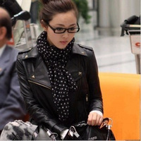 New 2014 Free Shipping Rivet Casual Turn-Down Collar Zipper Punk Motorcycle leather Clothing Leather Black Jacket ST-JK001