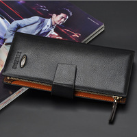 2014 High Quality Men Leather Wallets Long Design Luxury Male Purse Clutch 2 Billfold Folding Card Holder