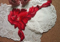 10pc 23x15cm Embroidery Red Flower Applique Patches Guipure Lace Appliques Motif Wedding Dresses Sewing Accessories AC0139
