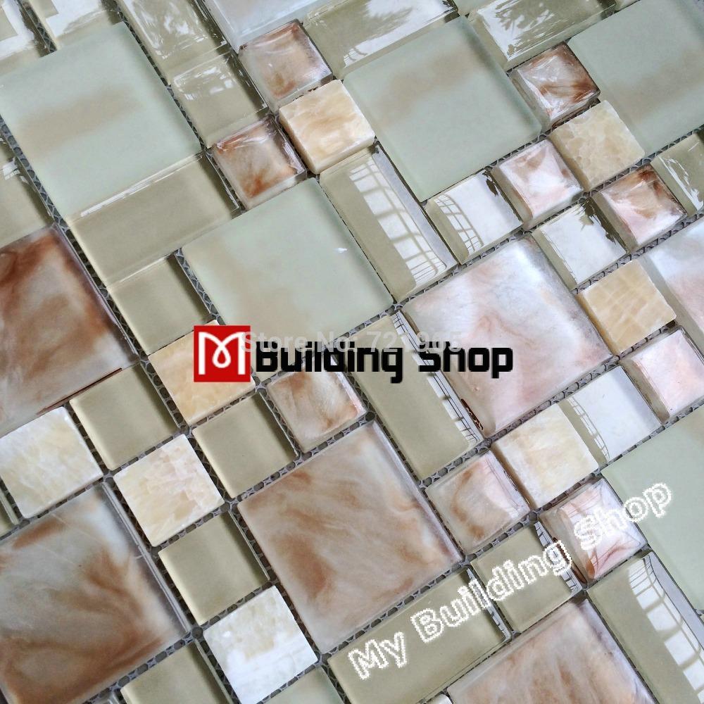 Natuursteen Tablet Keuken : Glass Stone Mosaic Tile Kitchen Backsplash