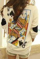 2014 New Fashion Tops Harajuku Funny Yong Women Zipper Ayumi Poker Queen Vintage T-shirt Plus Size Pullover