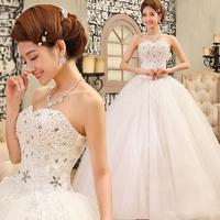 Free Shipping New Design Sexy Luxury 2014 Formal Sweetheart Wedding Dress Bridal Gown White Tube Top Diamond Princess