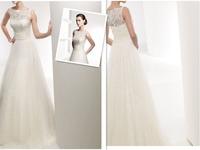 wholesale Fashion wedding dress formal dress 2015 slit neckline vintage sexy lace  princess wedding dress