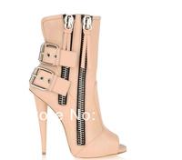 Hot sale beige leather open toe heeled women short boots with buckle women high heel shoes