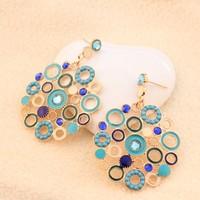 2014 new  fashion Western Dangle Earrings jewelry rhinestone bead round blue Bosnian Nation drop earrings cheap Wholesale PT31
