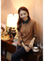 New 2014 Hot Sell Fashion womans clothing wear  Slim Lapel  Button Shirt long sleeve casual women blouse